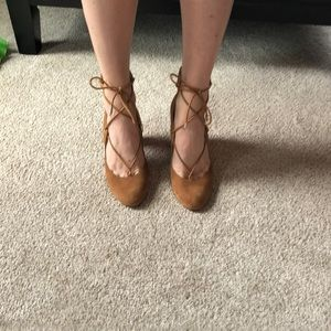 Camel Marc Fisher Lace Up Block Heels